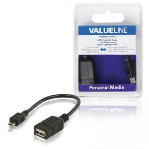 Câble adaptateur USB à connecteur USB 2.0 A femelle vers micro-USB 2.0 B mâle OTG noir 0,20 m
