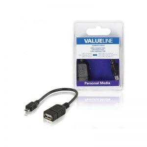 Câble adaptateur USB à connecteur USB 2.0 A femelle vers micro-USB 2.0 B mâle OTG noir 0,20 m.